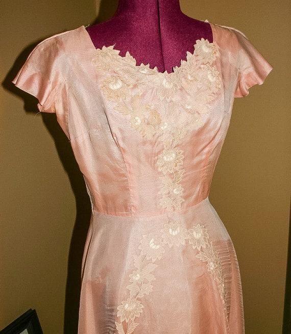 Vintage 40s 50s Parnes Feinstein Pink chiffon part