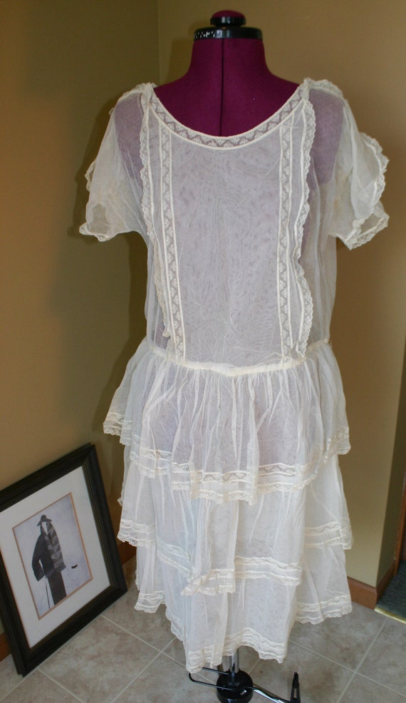 Vintage Edwardian cotton gauze lawn tea dress