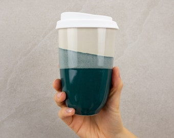 Coffee mug to go, coffee to go ceramic cup, reusable cup with silicone lid, 330 ml, petrol