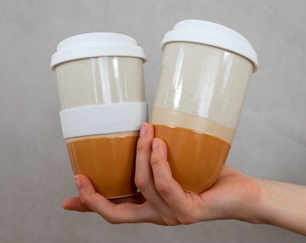 Coffee mug to go, coffee to go ceramic cup, reusable cup with silicone lid, 330 ml, bisque