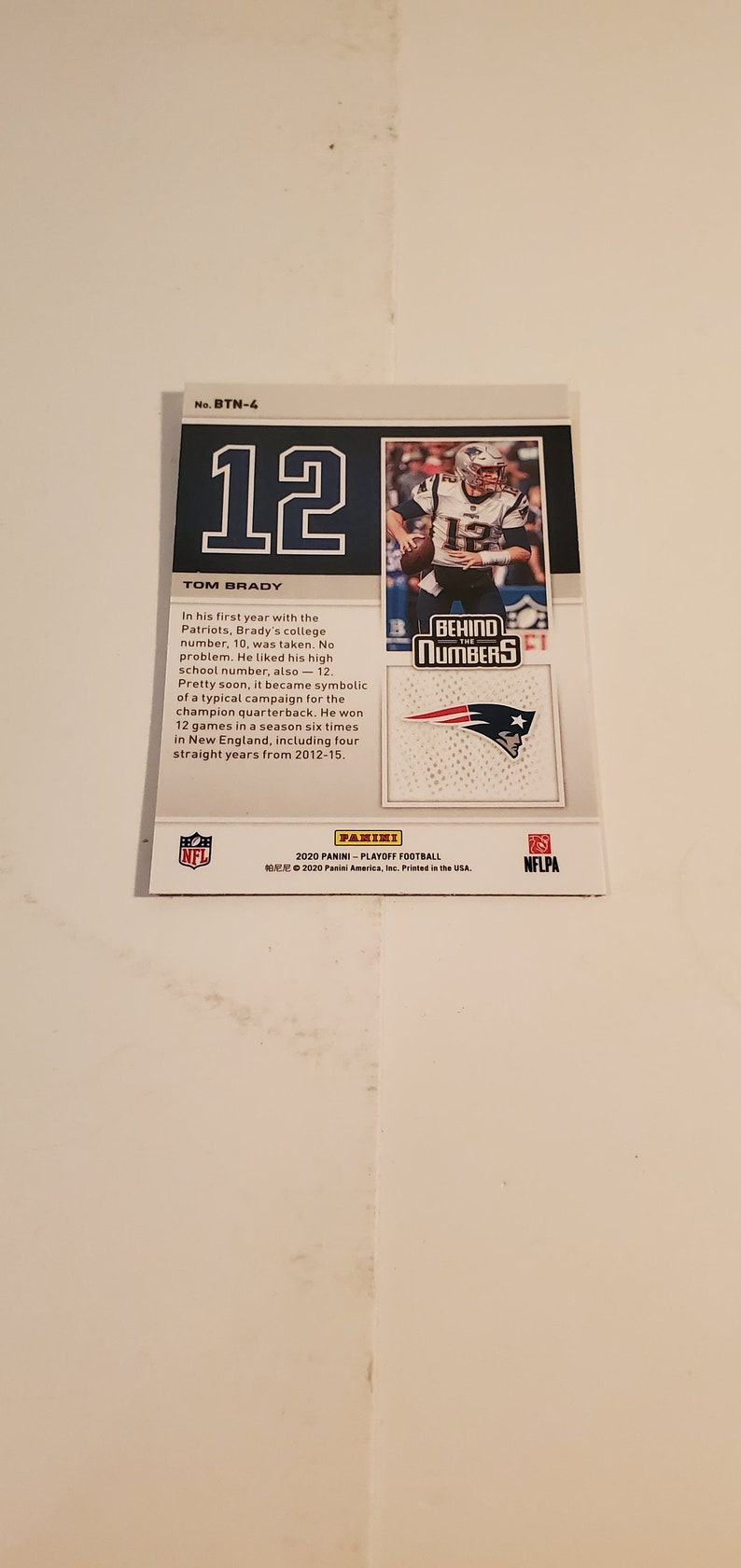 2020 Panini Playoff New England Patriots Behind The Numbers Tom Brady #BTN-4