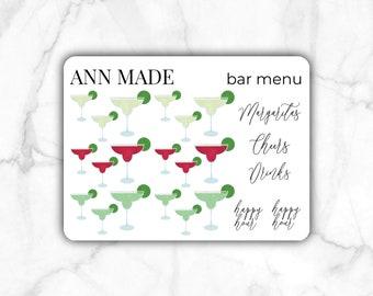 Margaritas Bar Menu Mini Sticker Sheets, Set of 2 | Minimalist, Tracker, Bullet Journal, Monthly Sticker, Label, Planner Stickers