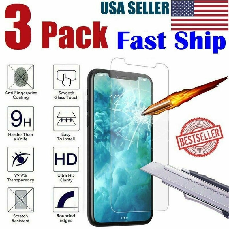 3 Pack iPhone XR Tempered Glass Protector iPhone XXS Screen Protector iPhone XSMAX Tempered Glass Screen Protector