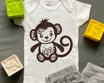 Monkey Bodysuit Baby Onesie Baby Gift Marcel the Monkey Short Sleeve Baby Grow Cute Baby Grow Unisex Baby Clothing Baby Shower Gift