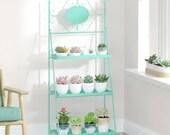 3 Tier Metal Plant Stand, Plant Display Rack, Ladder-Shaped Stand Shelf, Pot Holder for Indoor Outdoor Patio Garden Mint Metal Storage Rack