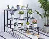 3 Tiered Plant Stand Outdoor Metal Stands for Multiple Plants Ladder Potted Indoor Shelf Holder Rack, Black Coated Metal Flower Rack