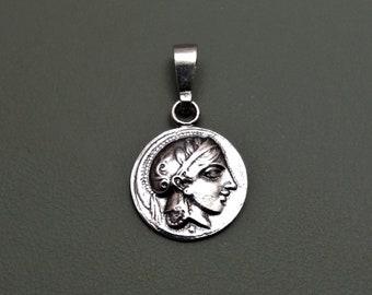 Goddess Athena(Athenian Tetradrachm) Silver Pendant in Handmade