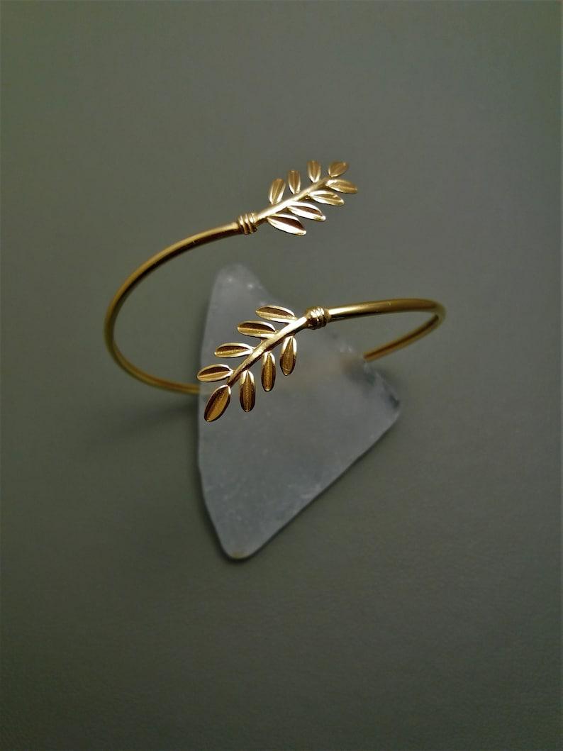 Ancient Greek Olive Leaf Silver 925 Bracelet Bangle