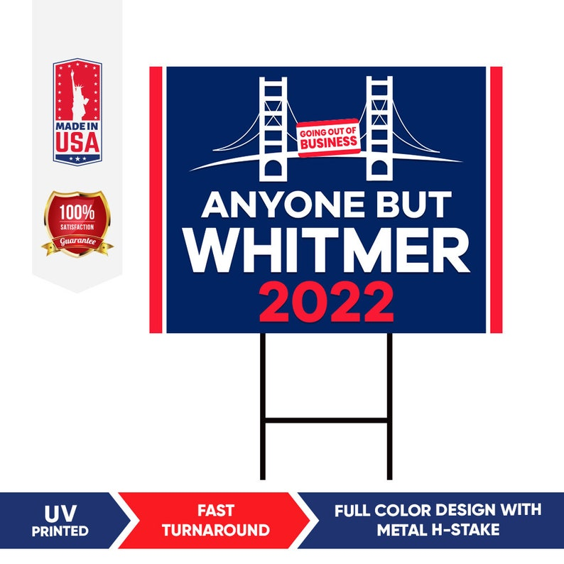 Coroplast Visible Text Michigan Recall Gretchen Whitmer Yard Sign with Metal H-Stake Anyone But Whitmer 2022 MI Yard Sign 18 x 12
