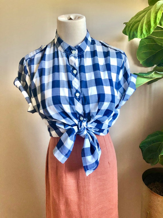 gingham button up blouse