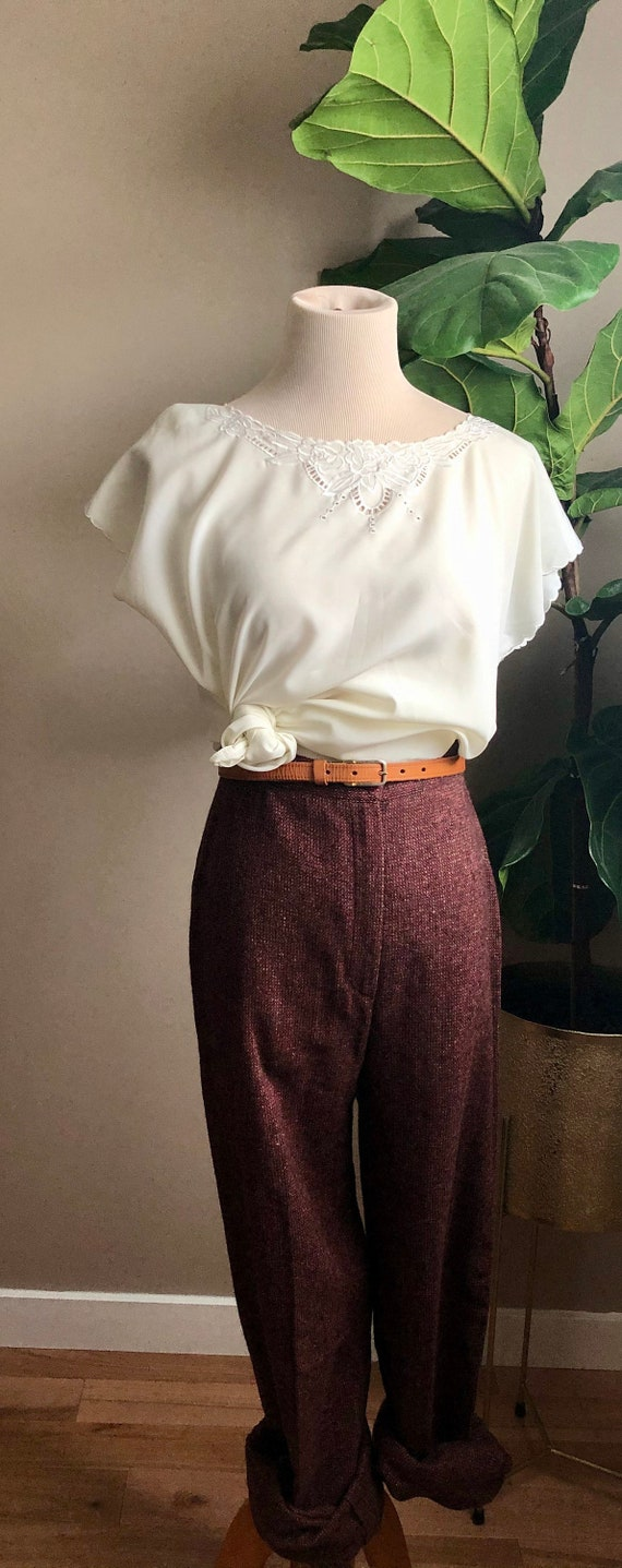 wool cranberry trousers - image 1