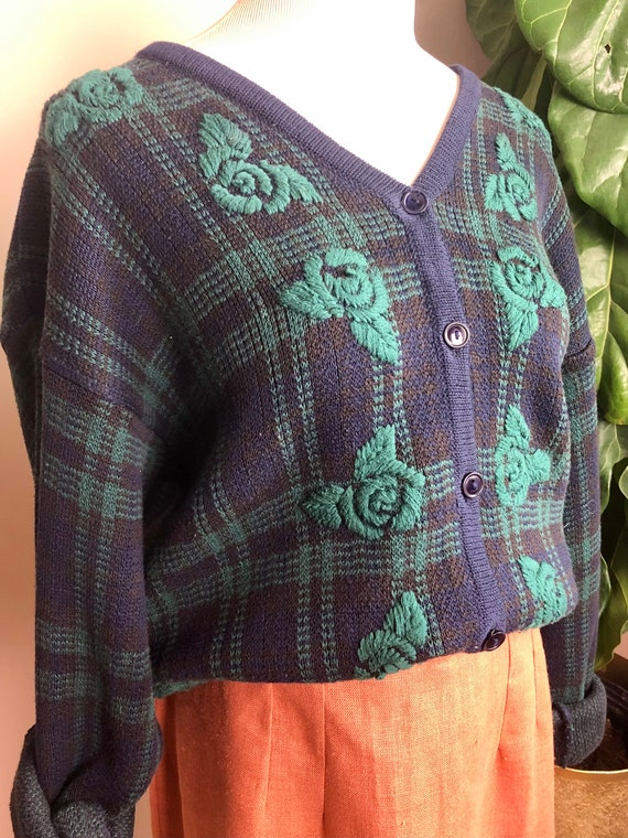 plaid floral embroidered cardigan