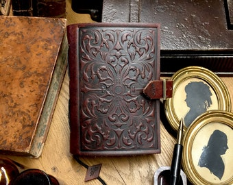 Handbound embossing leather journal-sketchbook,travel book,leatherbound,notebook,marbling art, baroque,medieval book,
