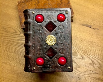 Handbound leather journal, leatherbound journal,medieval art leatherbound,red coral ,smoky quartz,brass, marbling, period bookbinding, blank