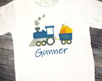 Train Fall Shirt, Train Pumpkin  Shirt, Boys or Girl Train Fall Shirt, Thanksgiving Train with pumpkins