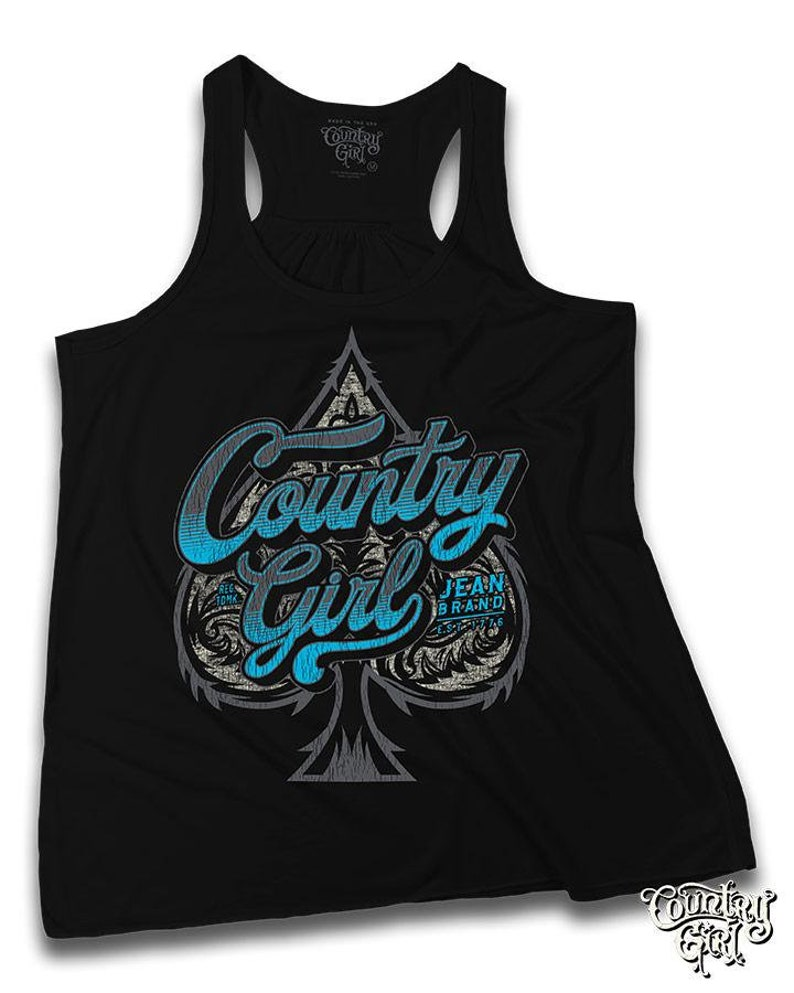 Country Girl\u00ae Women/'s Flowy Racerback Tank CG Spade