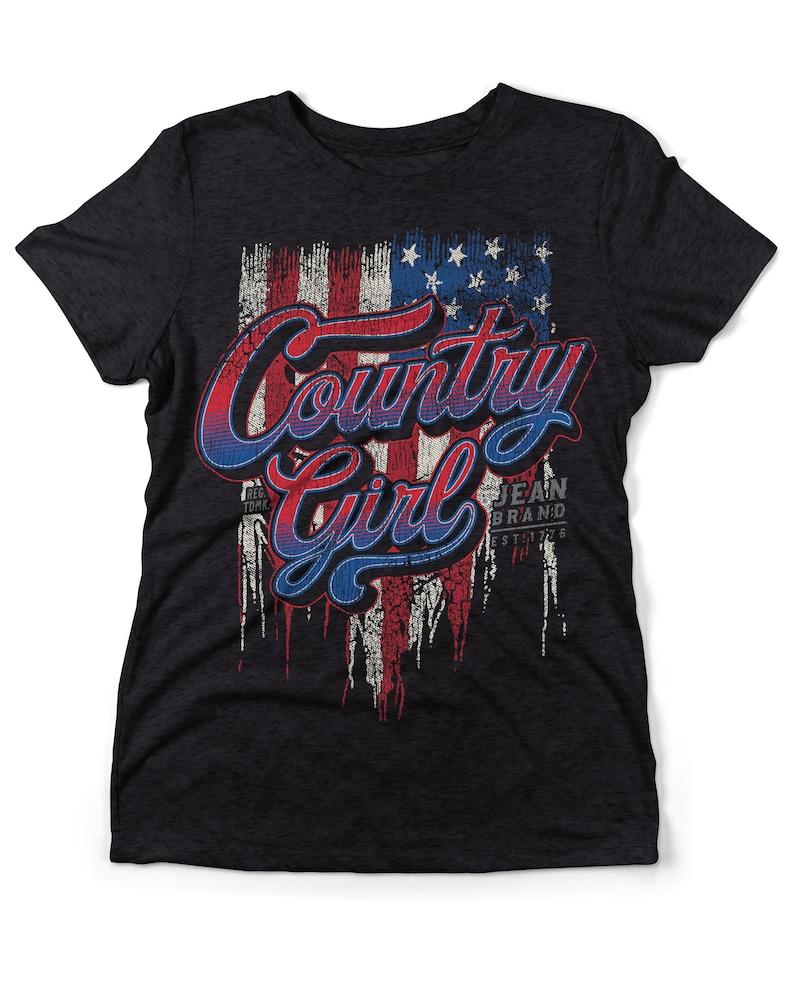 Country Girl\u00ae Women/'s Tri-Blend Tee CG Flag