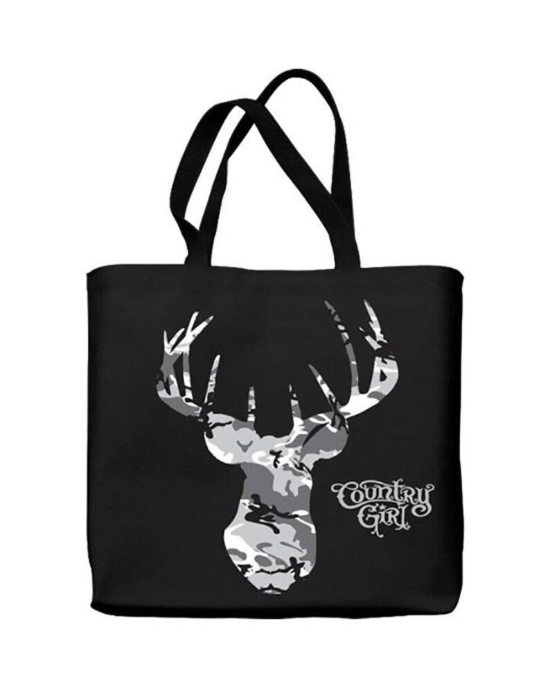 Country Girl\u00ae Tote Bag Grey Camo Buck Head