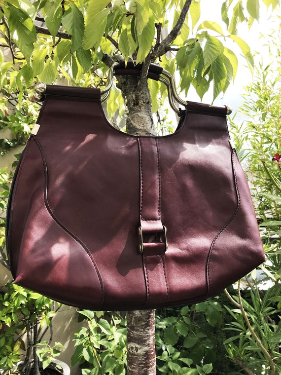 70s burgundy leather bag