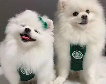 Cute Coffee Shop Barista Cat and Dog Pet Bib Costume Accessory