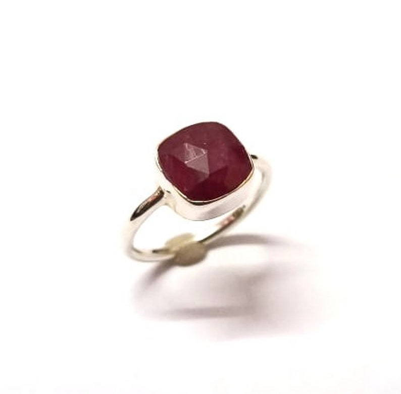 Cushion Shape Gemstone,925 Stamped Jewelry 925 Sterling Silver Handmade Ring With Natural Ruby Checker Cut Gemstone