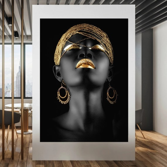 African Woman  Print on Canvas , Modern Wall Art, Canvas Wall Set , Extra Large Wall Art