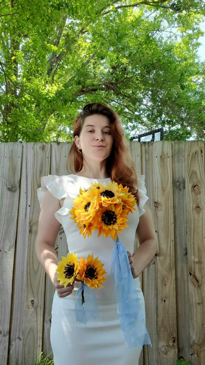 Sunflowers Summer Love Wedding Ceremony Floral Arrangements Set Bouquet and Pin Boutonniere Silk Ribbon Hand Made Crepe Paper Flowers
