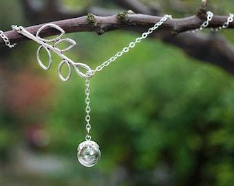 Branch Pendant Botanical Necklace Glass Orb Nature Gift Lariat Necklace Terrarium Necklace Dandelion Necklace with Silver Branch Charm