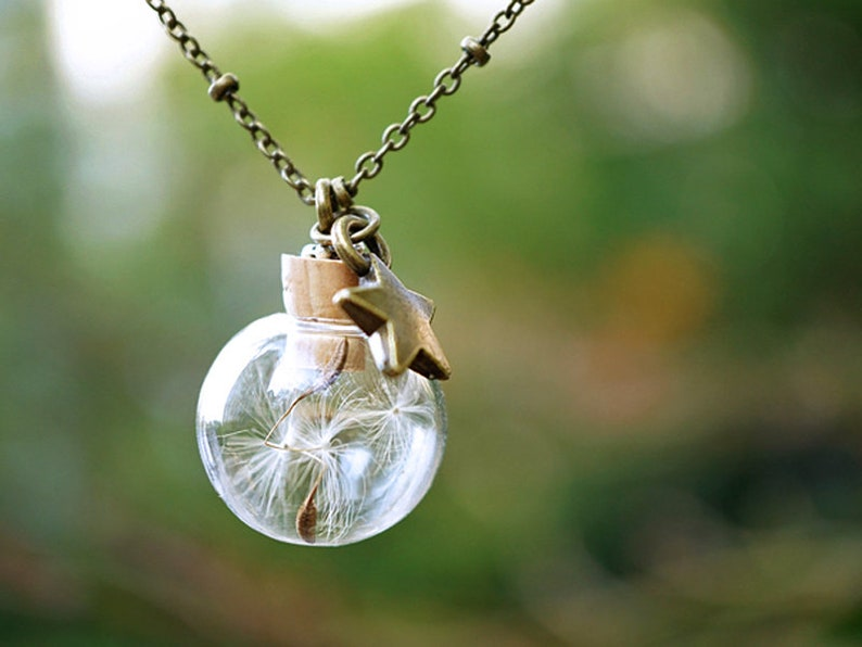 Dandelion Necklace with Star Charm Botanical Jewelry Glass Orb Terrarium Necklace Christmas Gift Bronze Wish Necklace Cute Star Necklace