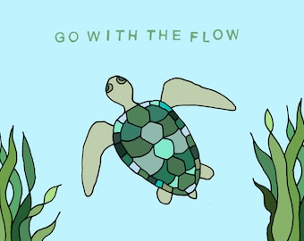 Go with the flow Sea Turtle Greeting Card