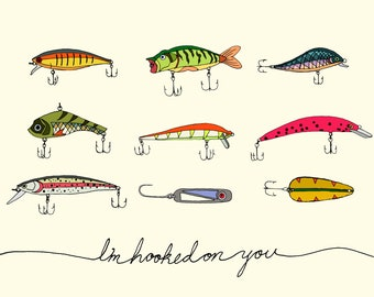 Hooked on you - Lures Greeting Card