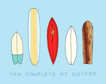 Retro Quiver Surfboard Greeting Card