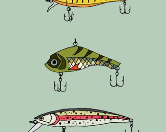 Three Lures Greeting Card