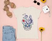 Skull Rose, Human Skull Planter, Gothic Goth Planter, Skull and Roses, Sugar Skull, Day of the Dead, Women T-shirt Halloween Gift for her