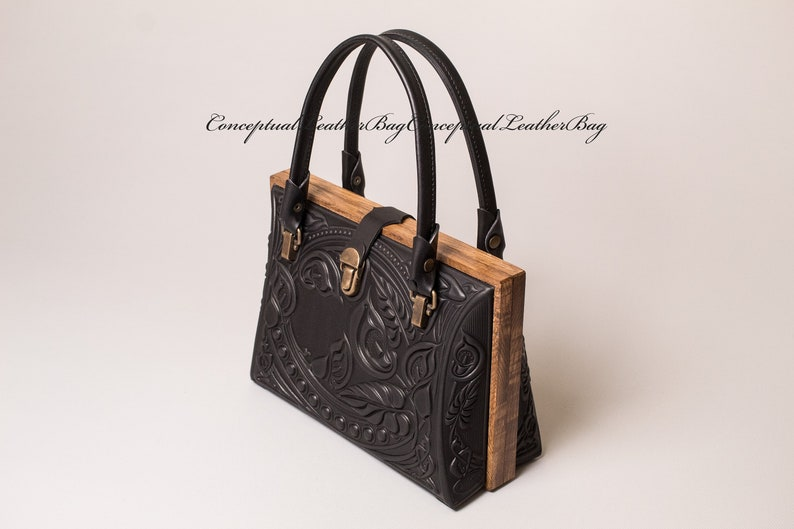 Edwardian Gloves, Handbags, Hair Combs, Wigs Evening purse leather / Black womans tote bag in vintage style / Limited collection / Wood frame / Gift for her $149.00 AT vintagedancer.com