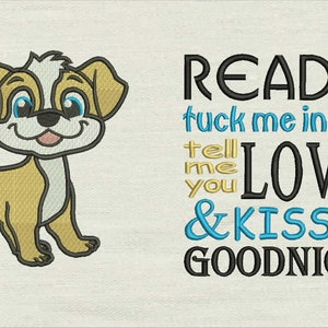Reading Pillow Pocket Pillow-INSTANT D0WNL0AD Read me a story with dog samy embroidery 2 Designs 3 Sizes