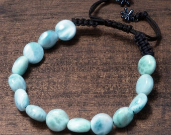 Larimar Bracelet, Natural Raw Untreated Gemstone, Authentic Larimar, Adjustable Bead Bracelet Unisex, Blue Calming Gemstone, Affordable Gift