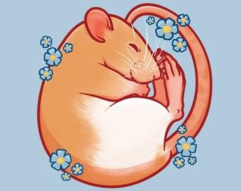 Cute Sleepy Rat Eco Paper Sticker