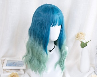 """21""""Blue-Green hair wigs for candy girls,Kawaii Lolita wigs,Cute lolita wigs with waves ,Cosplay wigs for girl,Women Long curly wig with bang"""