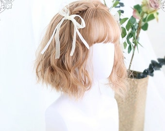 """14"""" Short curly gold wig for white women,Girl curly wigs,Lolita wig,Natural curls wig,Human wig,Golden hair wig,Yellow wig,Daily wig"""