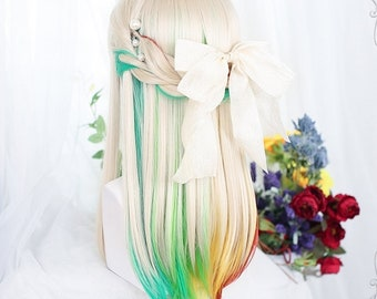 """20"""" Kawaii Gold long straight wigs with bangs for white women,Human wig,Straight semi-long wig for girl,Wigs with multicolor dyeing,Cosplay"""