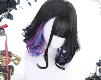 """14"""" Black short wig with waves,Colorful wig,Short wig for black women,Human wig,Daily wig,Fashion wigs,Natural black curls"""