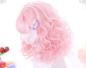 "15.5"" Kawaii girl short curls,Pink wave hair wigs,Dark-brown wigs for black women,Red curly short hair,Lolita wig,Daily women's wig"