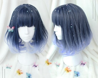 """15.7"""" Fashion Blue Color Short Straight Wig for Women,Hair Wig Gradient Color with Bangs,Lolita Wig,Cosplay Party Wig for Girls, Daily Wig"""