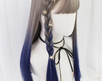 """21.6"""" Light Brown+Fashion Blue wigs candy girls,Gradient ramp Lolita wigs,Air bang wig,Colorful wigs,Cute lolita wigs,Role play Cosplay wigs"""