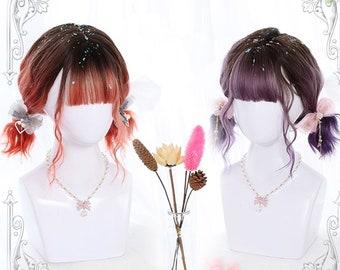 "12"" Fashion short wave wigs,Gradient ramp Black-Red/Black-Purple wig for ladies,Women short wig,Curls wig for women,Summer kawaii wig"
