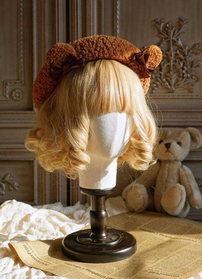 Original design white beret with bear accessories,Diy brown beret,Coffee color beret hat,Lolita hat,Hat for women,Hair accessories,Hair chip