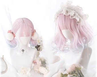 Pink-Blue/Purple gradient of color hair wig,Girl wig sheath,Lady curly wig,Women hair wigs,Rainbow wig,Cosplay wig,Lolita wig,Japanese style