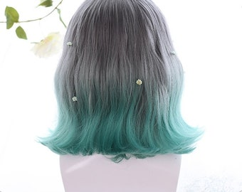 "13"" Custom Fashion lady short hair,  Gradient short hair, Wavy short hair wig with bangs,Lolita cosplay short hair,Dark gray+Blue Wig"