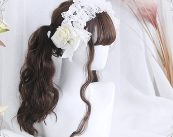 """26"""" Multicoloured ladies' daily long curls wig, Lolita long curly wig with bang,Black wig for black women,Gold wig for white women,Brown wig"""